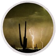 Giant Saguaro Southwest Lightning  Peace Out  Round Beach Towel
