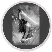 Giant With A Flaming Sword Round Beach Towel
