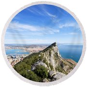 Gibraltar Rock Bay And Town Round Beach Towel