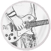 Gibson Les Paul Guitar Sketch Round Beach Towel