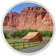 Gifford Homestead Barn - Capitol Reef National Park Round Beach Towel