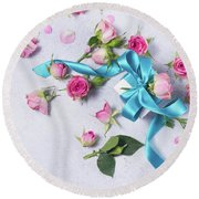 Gift And Flowers Round Beach Towel