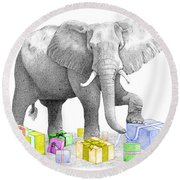 Gift Wrapping Elephant Round Beach Towel