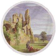 Gight Castle, 1851 Round Beach Towel