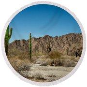 Gila Mountains And Sonoran Desert Round Beach Towel