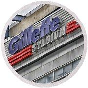 Gillette Stadium Sign Round Beach Towel