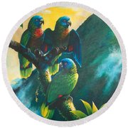 Gimie Dawn 1 - St. Lucia Parrots Round Beach Towel