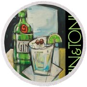 Gin And Tonic Poster Round Beach Towel
