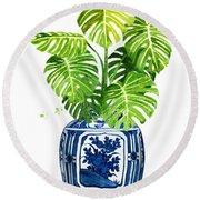 Ginger Jar Vase 1 With Monstera Round Beach Towel