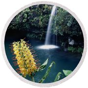 100638-ginger Lily And Hawaiian Waterfall  Round Beach Towel