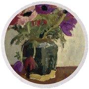 Ginger Pot With Anemones, George Hendrik Breitner, Ca. 1900 - Ca. 1923 Round Beach Towel
