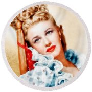 Ginger Rogers By John Springfield Round Beach Towel