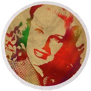 Ginger Rogers Watercolor Portrait Round Beach Towel