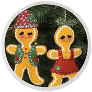 Gingerbread Christmas Ornaments Round Beach Towel
