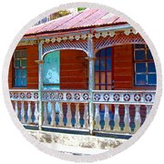 Gingerbread House Round Beach Towel