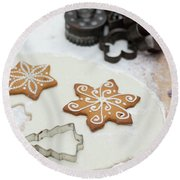 Gingerbread Making - Christmas Preparing With Vintage Kitchen Tools Round Beach Towel