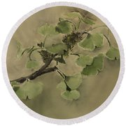 Gingko Branch Round Beach Towel
