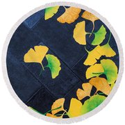 Ginkgo Leaves On Pavement Round Beach Towel