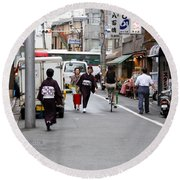 Gion District Street Scene Kyoto Japan Round Beach Towel