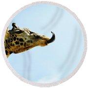 Giraffe And Tongue Round Beach Towel