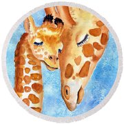 Giraffe Baby And Mother Round Beach Towel