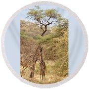 Giraffe Camouflage Round Beach Towel