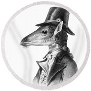 Giraffe In A Smoking Jacket With Top Hat Round Beach Towel