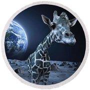 Giraffe On Moon Round Beach Towel