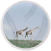 Giraffe Pair On Hill Round Beach Towel
