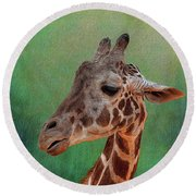Giraffe Square Painted Round Beach Towel