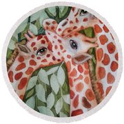 Giraffe Trio By Christine Lites Round Beach Towel by Allen Sheffield
