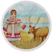 Girl And Deer Round Beach Towel