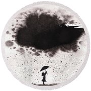 Girl And Ink Cloud Rain Round Beach Towel