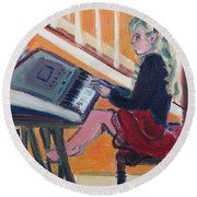 Girl At Keyboard Round Beach Towel