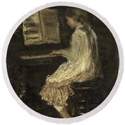 Girl At The Piano Round Beach Towel