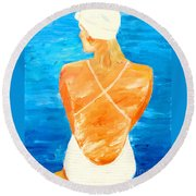 Girl At The Pool Round Beach Towel