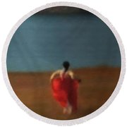 Girl By River-iii Round Beach Towel