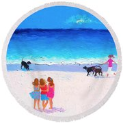 Girl Friends - Beach Painting Round Beach Towel