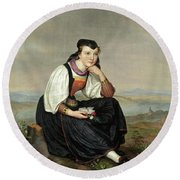 Girl From Hessen In Traditional Dress Round Beach Towel