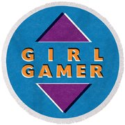 Girl Gamer Round Beach Towel
