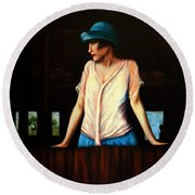 Girl In A Barn Round Beach Towel