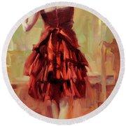 Girl In A Copper Dress IIi Round Beach Towel