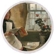 Girl In A Cottage Window Round Beach Towel