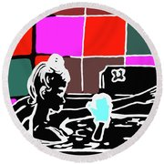 Girl In Bath Round Beach Towel