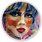 Girl In Blue And Gold Round Beach Towel