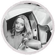 Girl In Car Round Beach Towel