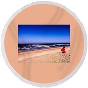 Girl In Red Dress Round Beach Towel