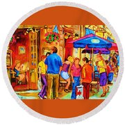 Girl In The Cafe Round Beach Towel by Carole Spandau