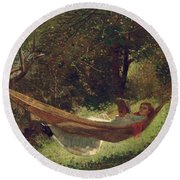 Girl In The Hammock Round Beach Towel by Winslow Homer