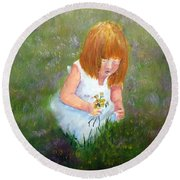 Girl In The Meadow Round Beach Towel